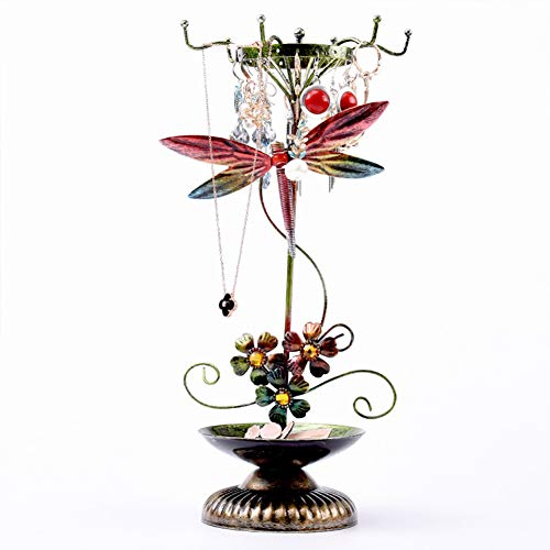 J.Mmiyi Schmuckständer Schmuckbaum Design Blume Insekt Dekorativer Metall Ornament Schmuck-Aufbewahrung | Ohrring-Ständer | Ketten-Halter,Dragonfly
