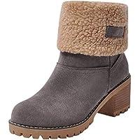 Mujer Zapatos Invierno ZARLLE Botas de nieve calientes de piel con pelo forradas con suela antideslizante para Mujer Invierno Botines Botas De Nieve Botas De Piel Calentar Casual Plano Zapatos