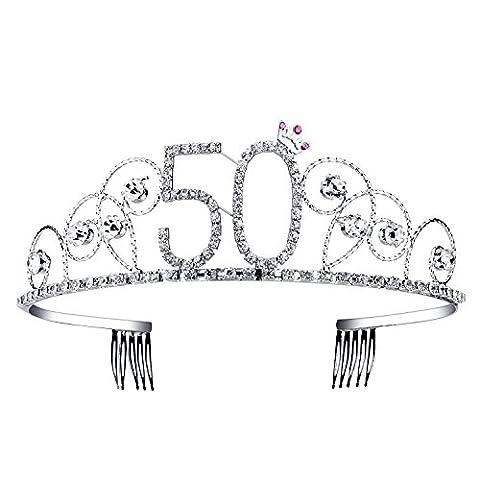 BABEYOND Crystal Tiara Birthday Crown Princess Crowns Hair Accessories Silver Diamante Happy 18/20/30/40/50/60th Birthday (50
