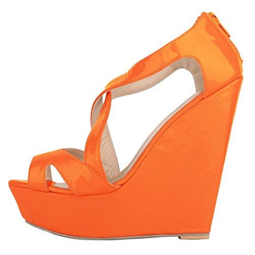 EKS , Escarpins femme Orange - Orange-Lackleder