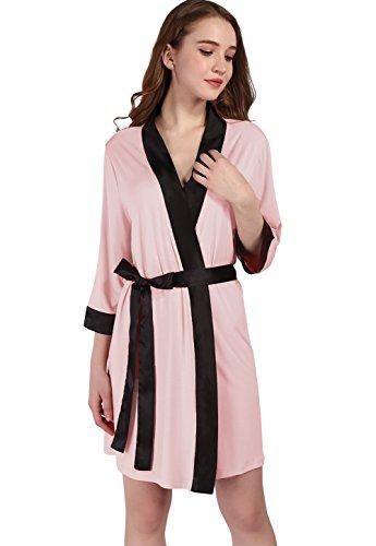 Vislivin Frauen Modal Kimono Robe Leichte Strick Bademantel Pink ...