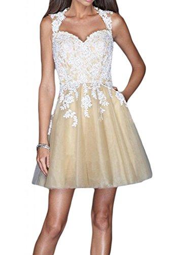 Gorgeous Bride Fashion Herz-Ausschnitt Mini Rueckenfrei Tuell Spitze Applikation Brautjungfernkleid Cocktailkleid Partykleid Champagner-Weiss