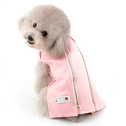SELMAI Wintermantel für Hunde, Fleece, Winddicht, mit Kunstpelzkragen, gemütlich, warm, britischer Stil, mit Kapuze, für kleine Katzen, Hunde, Haustier, Outfit, Reißverschluss, XL, Rose Sherpa Trim Fleece
