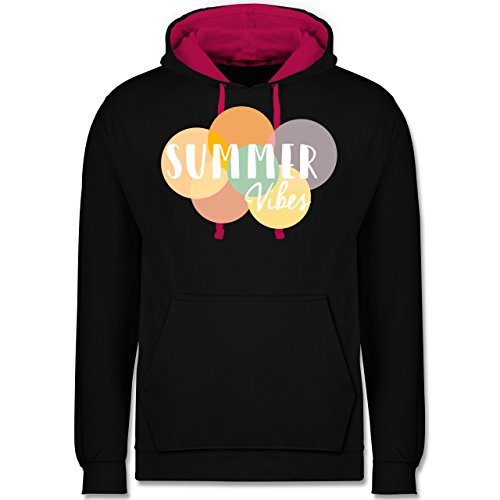 Statement Shirts - Summer Vibes - Kontrast Hoodie Schwarz/Fuchsia