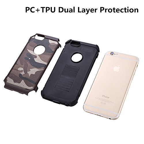 Meiya Coque camouflage militaire anti-chocs pour iPhone 5S/5/5 G, en TPU + PC rigide, double protection Marron sable