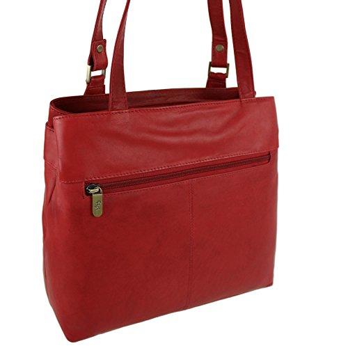Borsa a tracolla da donna in pelle morbida, GiGi; Othello, collezione Classic Multicolore (rosso)