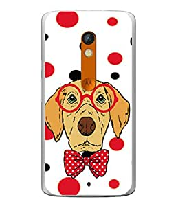 PrintVisa Designer Back Case Cover for Motorola Moto X Play (Cute Doggy Spectacles And Bow)