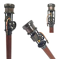 The New Antique Store - Steam Engine Walking Stick for Men/Women with Brass Handle, Steampunk Cane, Walking Wooden Cane for The Elderly, Working Steam Engine