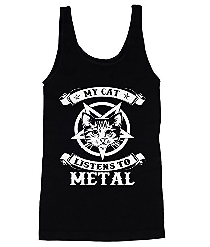 My Cat Listens To Metal Men's Herren Tank Top Shirt Large (Cat Top Tee)