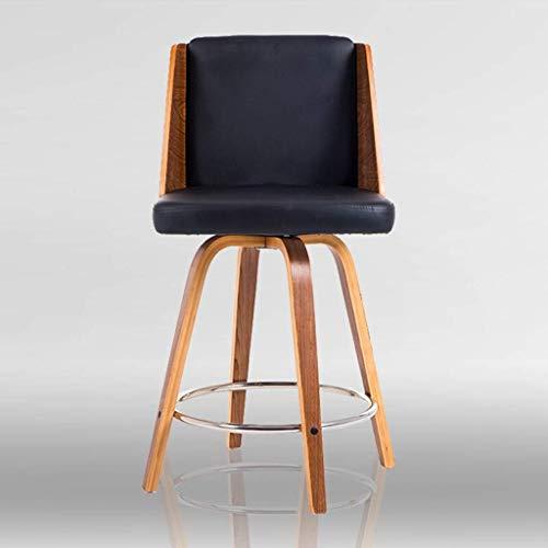 MU Massivholz Leder Küche Frühstück Modern Style Barhocker mit Rückenlehne - Dreh-, Chrom-Hocker und Holzbeinen Küche und Home Bar Chair,Schwarz -