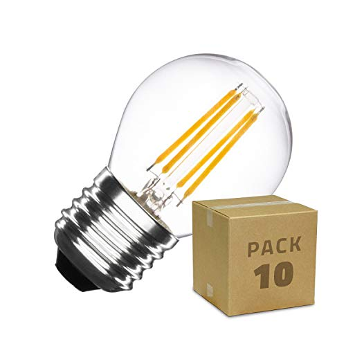 PACK Lampadina LED E27 Filamento Small Classic G45 4W (10 Un) Bianco Naturale 4000k-4500k