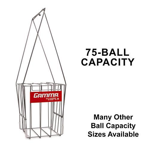 GAMMA Sport Tennis ballhoppers–langlebig, praktisch, robuste Konstruktion, für Tennis Ball Pickup, Transport und Aufbewahrung, (verschiedene Designs/Kapazitäten zu halten 50, 55, 75, 90, 110, 140Bälle), unisex - erwachsene, Hi-Rise 75, Silver (Holds 75 Balls), Holds 75