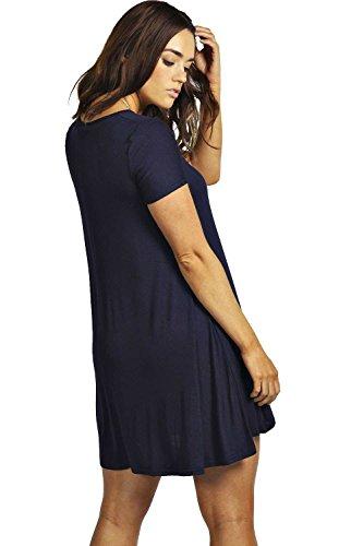Damen Schwarz Plus Clea Ausgestelltes Kleid Mit V-ausschnitt Schwarz