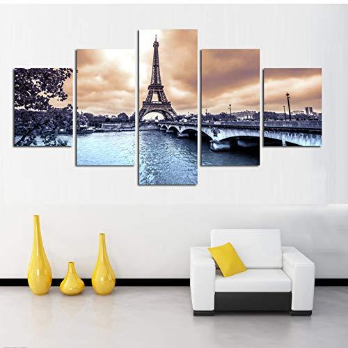 RMRM 5 Stücke Wandkunst Paris Turm Poster und Drucke Gemälde auf Leinwand Brücke Wasser Landschaftsmalerei für Wohnkultur Holzrahmen 30x40cm30x60cm 30x80cm