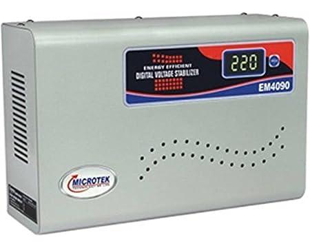 Microtek EM4090 90 300V Digital Voltage Stabilizer  Metallic Grey