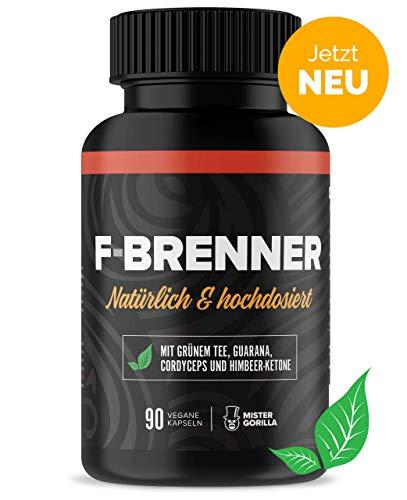 F-BRENNER Natürlich & hochdosiert | Grüner Tee, Guarana, Himbeer-Ketone & Cordyceps | Beliebt bei Männer & Frauen, die abnehmen wollen | 90 Kapseln (vegan) | von MISTER GORILLA