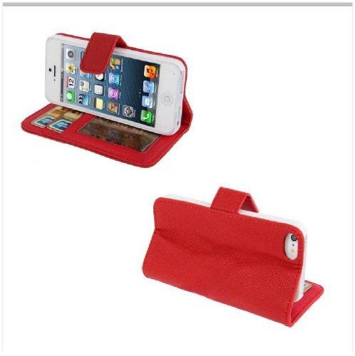Original Zukimik Flip Case Cover Buch Tasche für Apple iPhone 5 in Rot