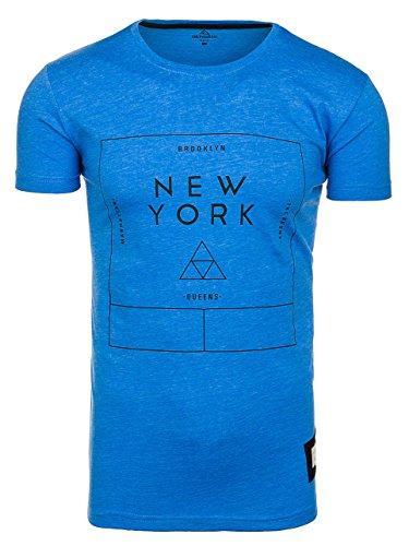 BOLF Herren T-Shirt Tee Kurzarm Casual Rundhals Slim Fit ATHLETIC 1119 3C3 Motiv Party Blau