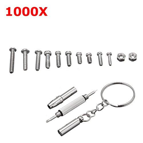 ChaRLes 1000Pcs Micro Tiny Schrauben Nuss-Reparatur-Kit mit WerkZeugen für Brillen Sonnenglas-Brillen