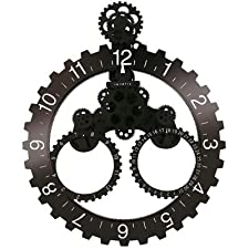 Invotis Wall Gear and DATE Clock BLACK/WHITE Numbers (H68cm x W56cm)