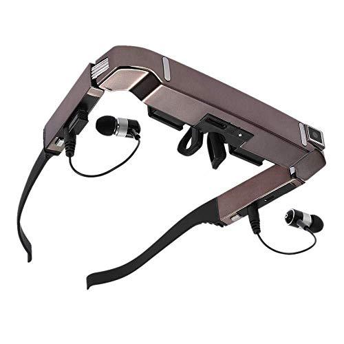 Smart Android WiFi Brille 80 Zoll Breitbild Portable Video 3D Brille Private Theater mit Kamera Bluetooth Medi (Color : Gold)