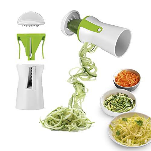 GOURMETmaxx 07293 Julienne- & Spiralschneider | Für Gemüse & Obst | Für Gemüse-Spaghetti & Rohkost-Salate | Edelstahlklinge | Weiß-Grün