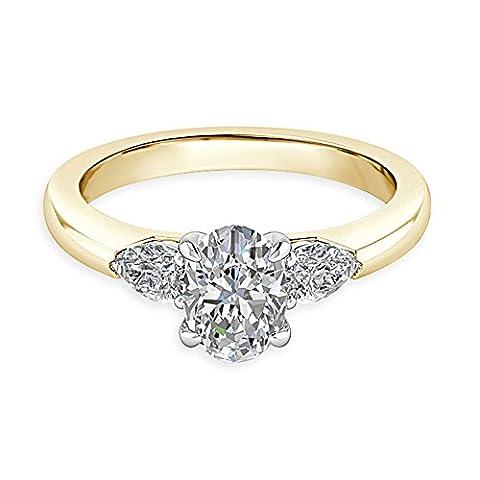 Forever Diamond - 14K Yellow Gold 14K Gelbgold Ovalschliff Hochfeines Weiß +/River (D) Diamant