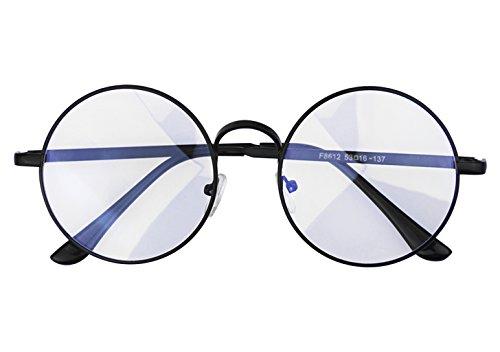 JINTN Klassische Nerdbrille Ohne Stärke Anti Müdigkeit Lesebrille Computer Brille Legierung Rahmen Klar Linse Anti-Strahlung Blu-Ray Runde Brille