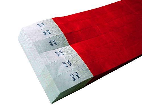 100pezzi Tyvek nastri con coupon coupon per tombolas-Doppia Numerazione. (Rosso, 19X 255mm)