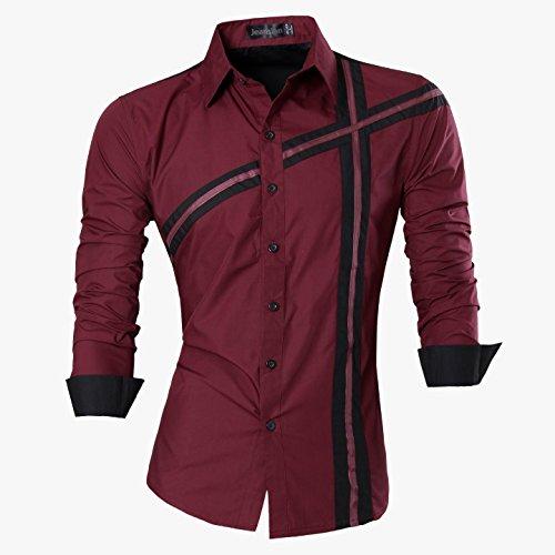 jeansian Herren Freizeit Hemden Shirt Tops Mode Langarmshirts Slim Fit 8397 Z006a_WineRed
