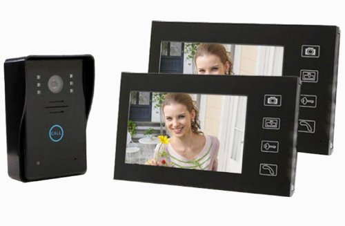 "Shanyi 7"" Portier Video Interphone Sans Fil Lcd LED Prise Photo Wireless Door Phone Bell 2 Moniteur Tactile , Black"