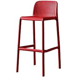 JYYYBD Mobilier Fauteuil de Bar Contemporain Simple, Chaise Haute, Table Haute, Chaise, Support pour Jambe Haute, Dossier pour la Maison, Chaise, Chaise pour réception (Couleur: Rouge)