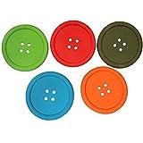 Gysad 5 piezas Posavasos silicona Forma de botón Posavasos moderno Antideslizante Posavasos palet Color aleatorio