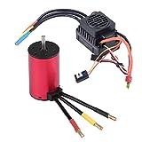RC Brushless Motor Combo, Impermeable Brushless Motor con 60A ESC Controlador de Velocidad Electrónico Combo Conjunto RC Modelo Parte Accesorio(3800KV Motor + 60A ESC)