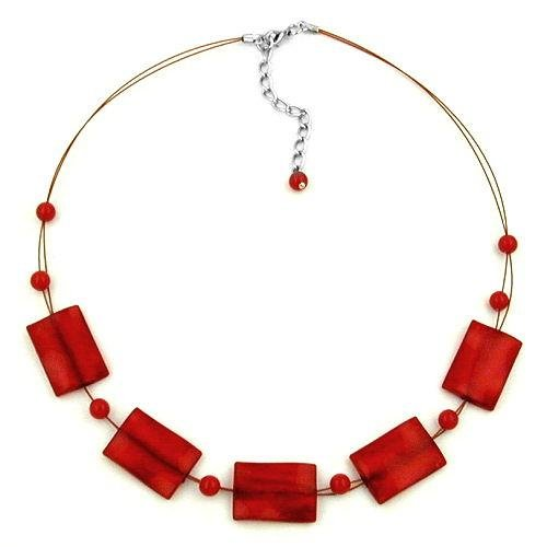 Halskette Kette Viereck gewellt rot-seidig 45cm 02672 (Klasse Ringe 2013)