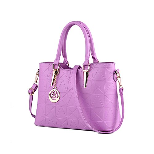 Emotionlin Style Europei Femminili Borsa Spalla Pure Color Pu Leather Tote Di Donne Zip Pouch Bag(Green) Purple