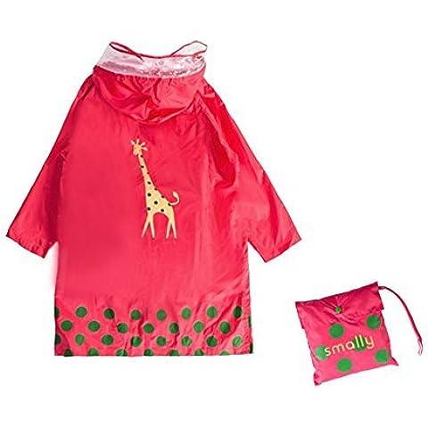 GIM Bambini Pioggia Cappotto Unisex Impermeabile Coprizaino Poncho Giacca Protezione con cappuccio per Ragazze & Ragazzi 3 – 12 anni