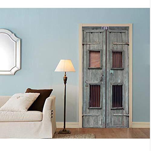 3D Alte Holztür Für Schlafzimmer Wohnzimmer Geschenk Kunst Pvc Wasserdichte Tür Aufkleber Mantel 77x200 Cm Türaufkleber - Alter Mantel