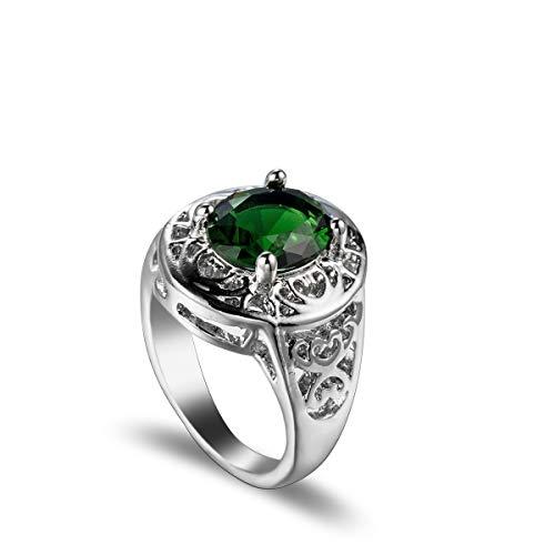 XIAOL Home Frauen-Ring Smaragd-Ring der Kristall-Ring Engagement/Hochzeit Schmuck (Size : 8)