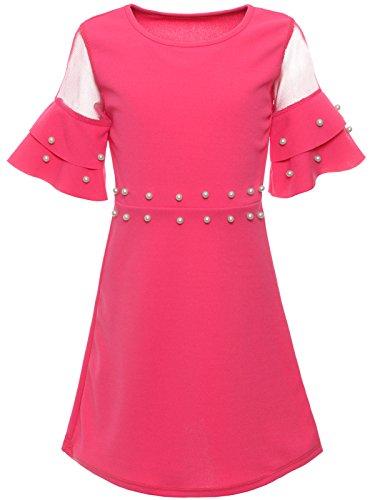 BEZLIT Mädchen Sommer Kleid Kunst-Perlen Prinzessin Fest Spitze Outfit 22602 Pink Größe 128