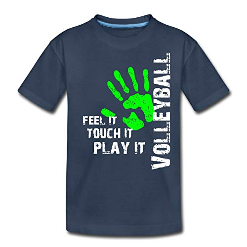 Volleyball Feel It Teenager Premium T-Shirt, 158/164 (12 Jahre), Navy