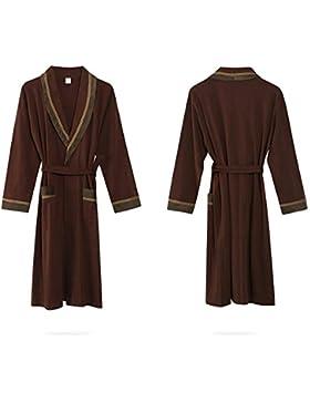 SUxian Gran Albornoz de los Hombres de Manga Larga de algodón Bata de Dormir camisón Pijama de café
