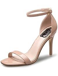 d3ee641ebe9e9f Sandalette Damen PU Leder Knöchelriemchen cm Sommer Schuhe High Heels Hoch  Offene Abendschuhe Absatz…