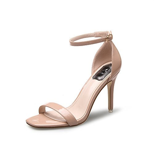 Sandalette Damen PU Leder Knöchelriemchen cm Sommer Schuhe High Heels Hoch Offene Abendschuhe Absatz Frauen Nudefarben 38