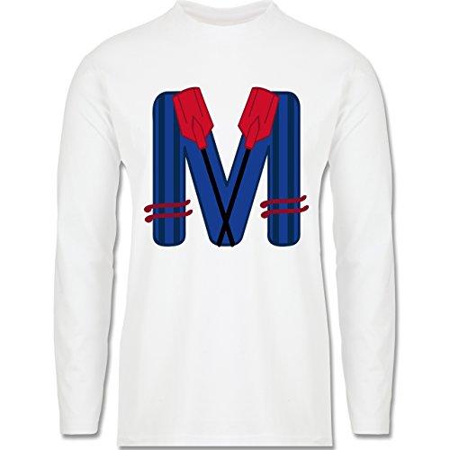 Anfangsbuchstaben - M Schifffahrt - Longsleeve / langärmeliges T-Shirt für Herren Weiß