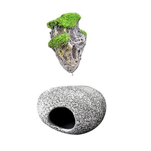 MagiDeal Aquarium Schwimmenden Felsen mit Saugnapf , Fisch Stein Höhle , Für Dekor Aquarium