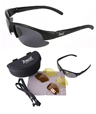 Black POLARISED FISHING SUNGLASSES with Interchangeable Polarized Anti Glare and Low Light Lenses. UVA / UVB (UV400) Protection
