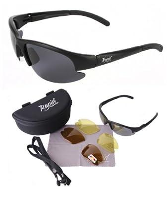 Black POLARISED FISHING SUNGLASSES with Interchangeable Polarized Anti Glare and Low Light Lenses. UVA / UVB (UV400) Protection