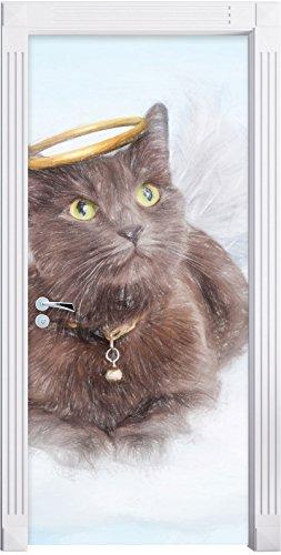 Katzen-Engel auf einer Wolke im Himmel Kunst Buntstift Effekt als Türtapete, Format: 200x90cm,...