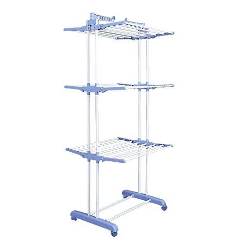 Homgrace stendino stendibiancheria pieghevole a torre con 4 ripiani in alluminio, stand supporto biancheria salvaspazio richiudibile, blu
